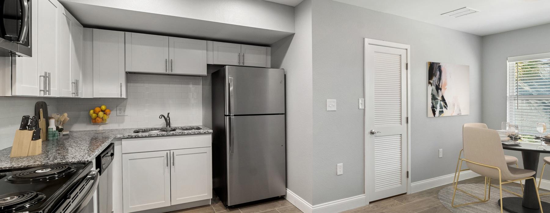 Modern kitchen at Royal Isles Apartments in Orlando