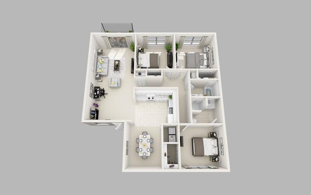 The Lyons - Renovated - 3 bedroom floorplan layout with 2 baths and 1244 square feet.