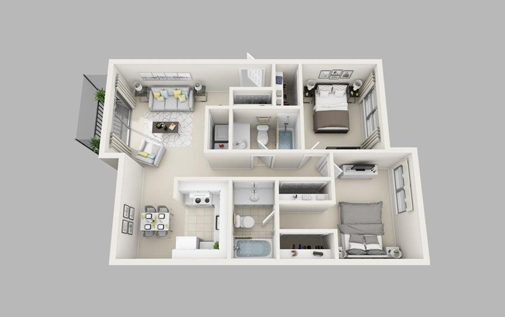 The Savannah - 2 bedroom floorplan layout with 2 baths and 955 square feet.