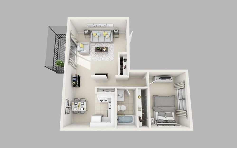 The Shenandoah - 1 bedroom floorplan layout with 1 bath and 748 square feet.